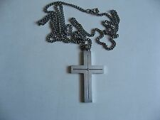 "Stel Stainless Steel Single Diamond Accent Cross Pendant Necklace 23"" Chain"