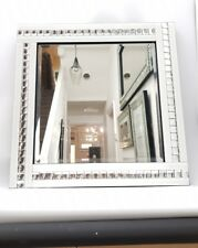 Classy White Mirror With Bling Silver Crystal Effect Border 60X60cm