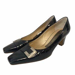PETER KAISER Vintage Black Patent Genuine Leather Buckle Shoes Size UK7 - I04