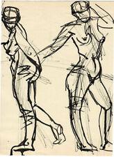 TWO FIGURES OF NUDE WOMEN drawing by U/K Russian artist