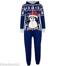 Kids Girls Boys Novelty Christmas Santa Penguin Print Onesie All in One Jumpsuit Royal Blue 7-8 Years