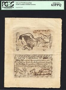 $50 Feb. 8, 1779 South Carolina Colonial Note Uncut Pair FR SC-154 PCGS 63 PPQ