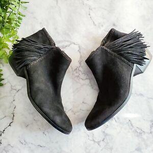 Sam Edelman Paige Black Suede Leather Tassel Accent Western Ankle Bootie 9.5