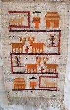 Vtg Mid-Century Modern Danish Wool Rug Tapestry Fiber Art Danmark Scandinavian