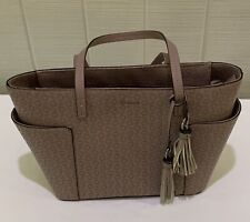 Guess Handbag Satchel Dusty Mauve Signature PVC Leather Plenty Of Storage Tassel