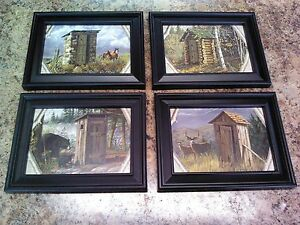 4 PRIMITIVE BATHROOM WALL HANGINGS OUTHOUSE BATH OUTHOUSES PICTURES DEER BEARS