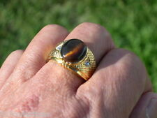12X10 mm Tiger Eye Brown Semi-Precious Oval Cut Gold Plated Men Ring Size 9