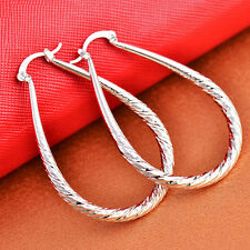 Fashion Women 925 Silver Oval Hoop Drop Dangle Earrings Ladies Jewelry Wedding
