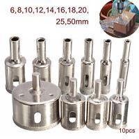 10PCS 6-50mm Diamond Coated Core Drill Bit Tile Marble Glass Ceramic Hole Saw k