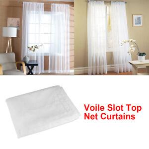 """1Pair / 2Panels Net Curtains & Slot Top Voile Panels 54""""-90"""" Length Home Decor"""