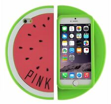 For iPhone 6 / 6S - SOFT SILICONE RUBBER SKIN CASE COVER PINK GREEN WATERMELON
