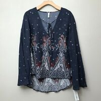 Xhilaration Plus Size Woven Bell Sleeve Top Navy Peacock Size 1X NWT