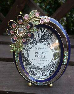 Paperchase pretty enamel & rhinestone photo frame with large flower