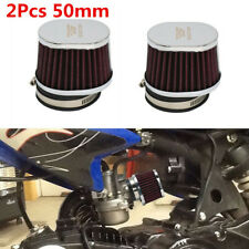 2Pcs 50MM Washable High Flow Performance Motorcycle Air Filter Pods Cleaner Red