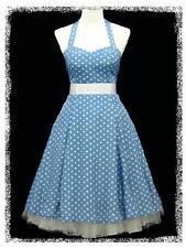 dress190 BLUE & WHITE CHIFFON POLKA DOT 50s ROCKABILLY PARTY PROM DRESS 18-20