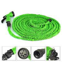 Flexible Latex 25 50 75 100 FT Expanding Garden Water Hose Pipe w/ Spray Nozzle