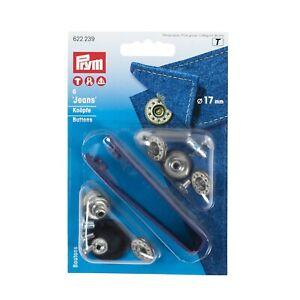 Prym Jeans buttons, stars, laurel, silver, brass, copper, choose colour/size