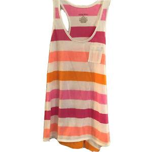 Xhilaration Sleepwear Juniors Pajama Top M Cotton Blend Pink Orange White Stripe