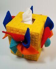 New Plastic Canvas Tissue Box Cover Multi-Colored/Side Pin Wheel Handmade Moves