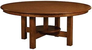 Amish Handcrafted Round Dining Table Arts Crafts Mission Base Solid Wood