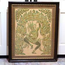 Vintage Thai Goddess Dancer Mid-Century Modern Framed Stone Temple Rubbing