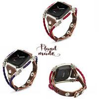 For Fitbit Versa  / Versa 2 /  Lite Leather Wristband Band Strap Bracelet