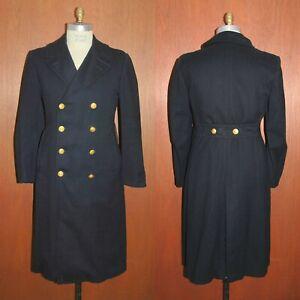 Vtg US NAVY Officers Bridge Coat 38 REG Gold Button Long Trench USN Overcoat