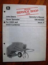 John Deere Straw Spreader 3300 and 4400 Combine operators Manual Jdj3