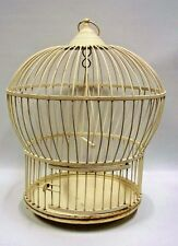 "Solid Metal Bird Cage Round Domed Painted Cream White 17"" Swing VINTAGE"