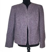 Vintage Pendleton Wool Tweed Blazer Jacket Top Open Front Purple Coat Large USA