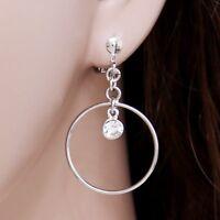 "#E122C Pair NON-PIERCED CLIP ON 1"" Hoop Earrings Dangle Crystal Women Sexy NEW"