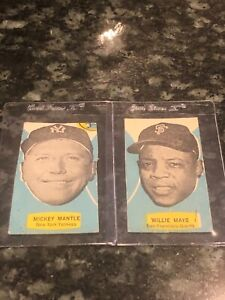 MICKEY MANTLE NEW YORK YANKEES  & WILLIE MAYS GIANTS HANDCUT CARDS!!! RARE!!!