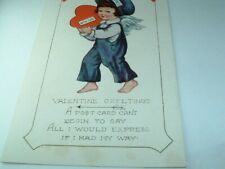 Vintage Valentine Post Card w Express Mail Cupid dated 1921