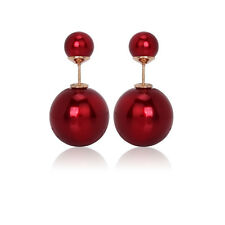 Celebrity Runway Double Sided Faux Pearl Big Ball Beads Plug Stud Earrings