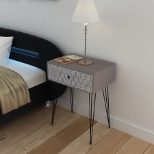 Retro Side Table Cabinet Storage Hallway Bedroom Nightstand Bedside Drawer Grey