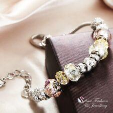 18K White Gold GF Snake Chain Heart Buckle Crystal Bead Strand Charm Bracelet