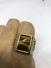 Vintage Golden Stainless Steel Genuine Tiger's Eye Size 7.25 Men's Ring