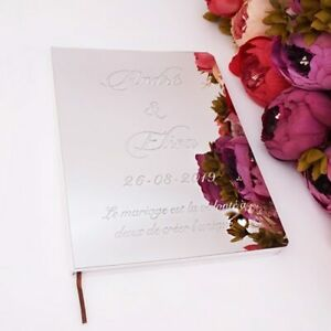 Customized Acrylic Mirror White Blank Guestbook Wedding Signature Guest Book