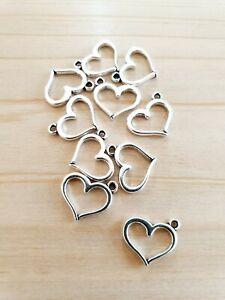 10 x Herz Anhänger zum Basteln/Schmuckherstellung ♥ Deko Zubehör Charms Silber