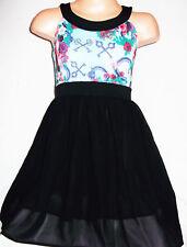 GIRLS BLUE MIX FLORAL PRINT BLACK CHIFFON CONTRAST PRINCESS PARTY DRESS age11-12