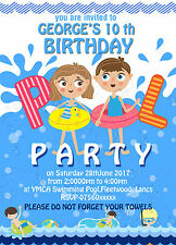 Personalised Birthday Invitations Swimming Pool Party x 8 - on thick card 250gsm