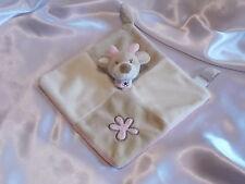 Doudou Vache, carré, écru et beige, broderie fleur rose, Bébé 9
