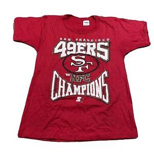 80s VTG STARTER SAN FRANCISCO 49ers M 1988 NFC Champions T Shirt Logo Made USA