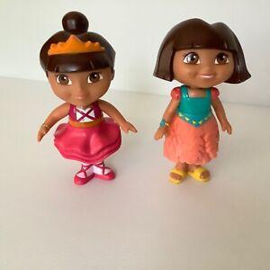 Two Dora the Explorer dolls 12 cm high plastic Mattel Viacom