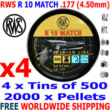 RWS R 10 MATCH .177 4.50mm Airgun Pellets 4 (tins)x500pcs (10m PISTOL) 0,45g