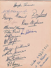 WALES - WELSH RUGBY TEAM 1947 (v IRELAND) SIGNED RUGBY ALBUM PAGE + COA