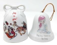 "2 Vtg Christmas Bells Designers ""Joy To You"" + Precious Moments 1985 Cozy Bell"