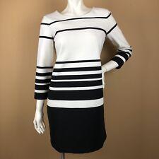 Club Monaco Knit Shift Dress Womens 6 Black White Stripe Boat Neck Knee Length