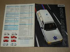 Prospectus PEUGEOT 505 Ambulance  1990    brochure  prospekt catalogue car