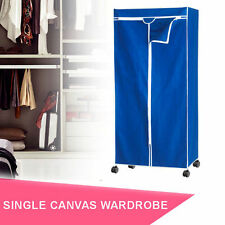 Single Portable Canvas Wardrobe with Hanging Rail Avail Beige/Blue RRP $79.95